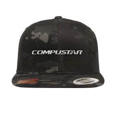 Compustar snap back flat bill hat in black camo